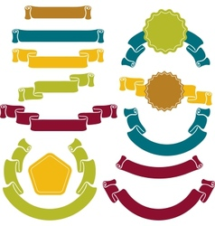 retro ribbons labels set vector image