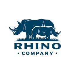 Rhinoceros logo on grass vector