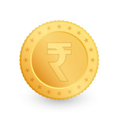 Rupee gold coin isolated on white background vector