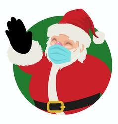 santa claus wearing medical mask vector image