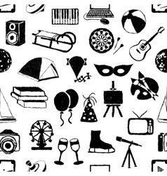 seamless doodle entertainment pattern vector image