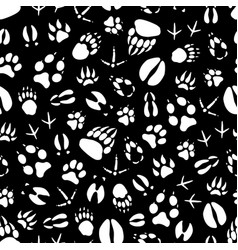 seamless pattern animal or bird footprints vector image