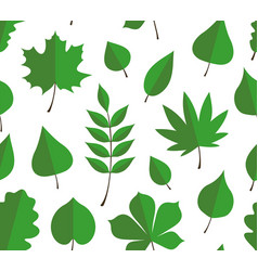 Seamless pattern with green autumn leaves vector