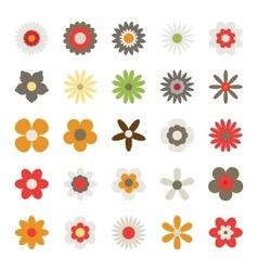 set flowers isolated on white background vector image