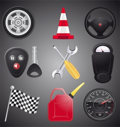 Set of automobile objects vector