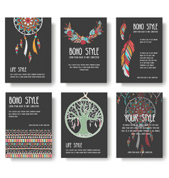 set of boho ornament style concept vector image