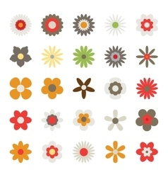 Set of Flowers Isolated on White Background vector