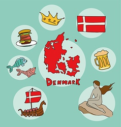 set of national profile of the denmark vector image