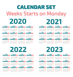 Simple 2020-2023 years calendar vector
