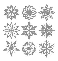 Snowflake Icon set Isolated on white vector image