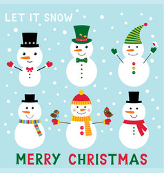 Snowmen set vector