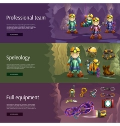 Speleology interactive 3d banners set vector