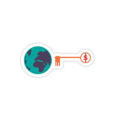 Stylish sticker on paper globe and key money vector