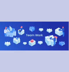 teamwork web banner isometric template vector image
