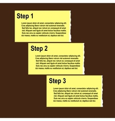 Torn paper progress option or steps background vector image
