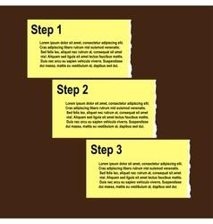 torn paper progress option or steps background vector image