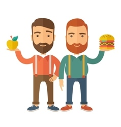 Two businessmen comparing apple to hamburger vector