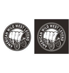 Vintage monochrome wild west round badge vector
