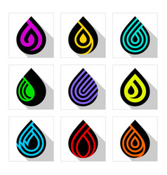 water drop symbols new set colored signs vector image