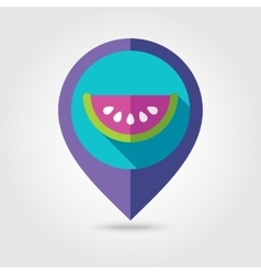 Watermelon Slice flat mapping pin icon vector
