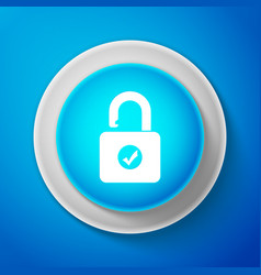 white open padlock and check mark icon isolated vector image