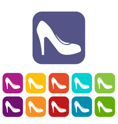Women shoe with heels icons set vector