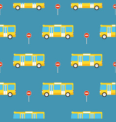 yellow bus seamless pattern vector image