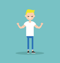 young funny blond boy demonstrating his strength vector image
