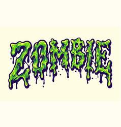 Zombie horror typeface melt vector