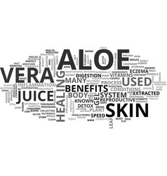aloe vera herbal text word cloud concept vector image vector image