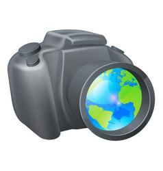 camera globe concept vector image