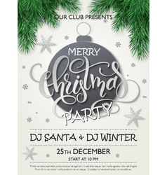 christmas party poster with fir-tree vector image