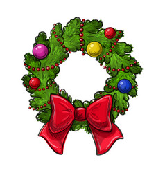 christmas wreath drawing vector image