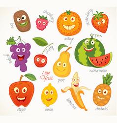 fruit funny cartoon character vector image