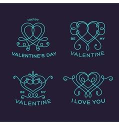 Graceful Floral Valentine Line Style Heart Labels vector image vector image