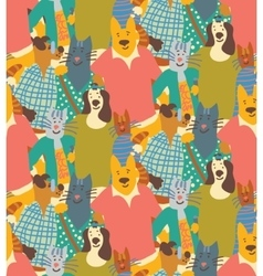 Hug pets dogs and cats friendship crowd seamless vector image