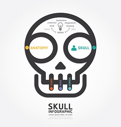 infographics skull and brain design diagram line vector image vector image