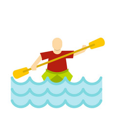 Kayaking water sport icon flat style vector