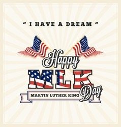 Martin luther king day greeting card vector image vector image