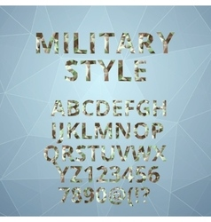 Polygon alphabet with military font style vector image