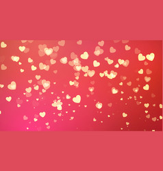 red background with golden heart confetti vector image vector image