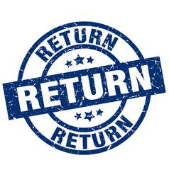 Return blue round grunge stamp vector