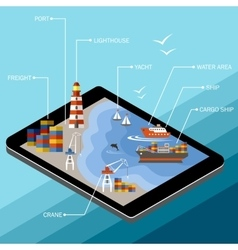 Seaport on the tablet screen vector image