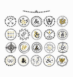 black and golden hand drawn circle ampersand set vector image vector image