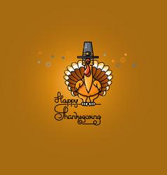 cartoon turkey in pilgrim hat thanksgiving vector image