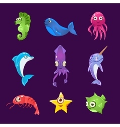 Colourful Sea Creatures Set vector image