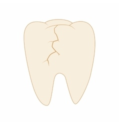 Cracked tooth icon cartoon style vector image