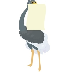Funny Ostrich holding blank sign vector image
