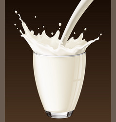 milk splash in the glass on the brown background vector image