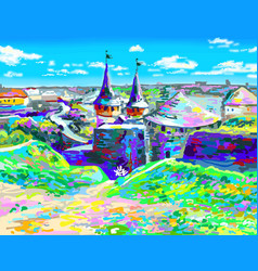 painting of old medieval castle in kamenetz vector image